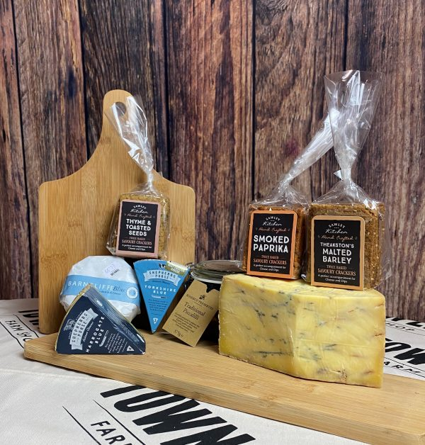 blue artisan cheese box